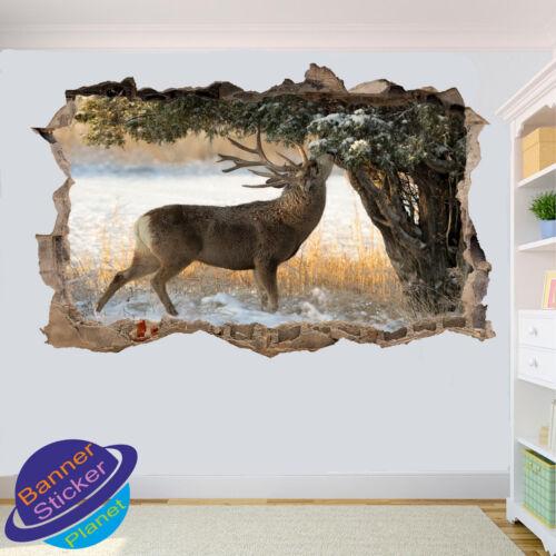 DEER FOREST Snow Wild Art Affiche 3D Autocollant Mural Art Chambre Décoration Autocollant Murale ZZ3
