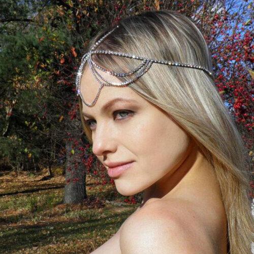 Women Bohemia Tassel Chain Jewelry Rhinestone Muti Layers Hair Chain Head Band