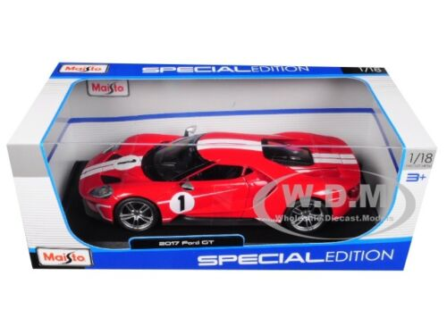 2017 FORD GT #1 Red Heritage Special Edition 1//18 Diecast modèle par MAISTO 31384
