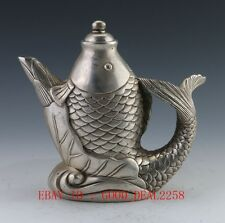 Collectible Decorated Old Handwork Tibet Silver Carved Big Fish Tea Pot