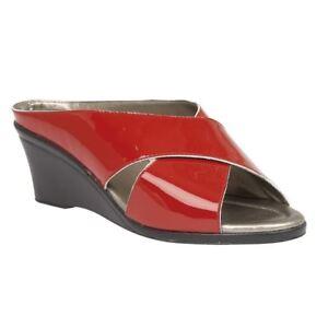 Damenschuhe Kleidung & Accessoires Ladies Lotus Trino 20059 Red Patent Slip On Comfort Smart Casual Mule Gute Begleiter FüR Kinder Sowie Erwachsene