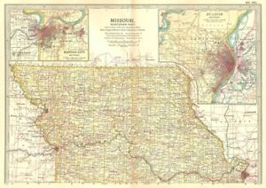 St Louis State Map.Missouri North State Map Showing Counties Inset Kansas City St