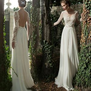 Image Is Loading Wedding Dresses Long Sleeve Backless Bride Dress Lace