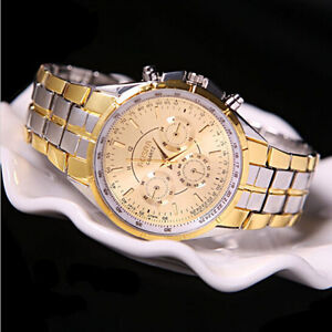 Fashion-Men-039-s-Luxury-Date-Gold-Dial-Stainless-Steel-Analog-Quartz-Wrist-Watch