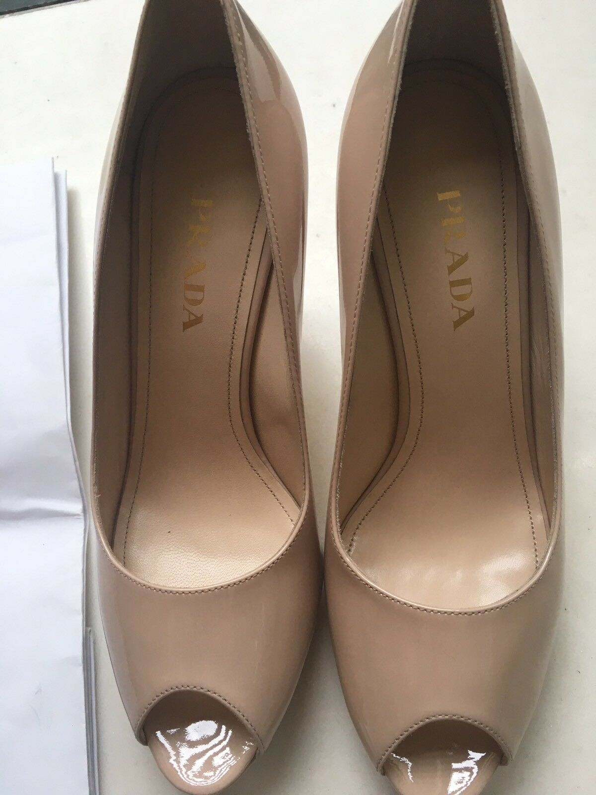 Prada brand new open toe patented heals leather pump heals patented 38.5 or 7.5 size d4d782