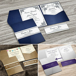 Pocketfold wedding invitations with rsvp and info cards free image is loading pocketfold wedding invitations with rsvp and info cards stopboris Image collections