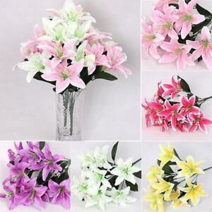 Seidenblume Kunstliche Lilien Bouquet 5 Zweige 10 Blumen Hochzeit