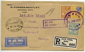 MALTA-1931-6-18-First-airmail-cover-034-By-air-to-Genoa-only-034-to-Magdeburg-Germany