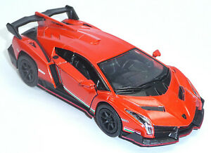 Lamborghini-Veneno-Orange-aprox-1-36-modelo-de-coleccionista-12-5cm-mercancia-nueva-de-Kinsmart