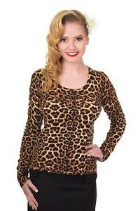 Women-039-s-Leopard-Print-Vintage-50-039-s-Retro-Rock-Rockabilly-Cardigan-Banned-Apparel