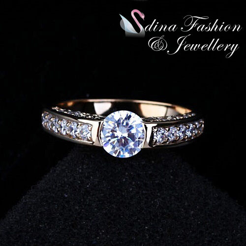18K Yellow Gold GP Simulated Diamond 0.8 ct Classic Side Stone Engagement Ring