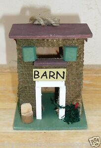 "BIRDHOUSE~Ornament~Miniature Rustic Country~Wood~""BARN""~NEW~FREE SHIP"
