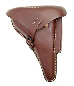 German-Army-WW2-Luger-PO8-Brown-Full-Leather-Holster-Repro-Hard-Shell-Pistol