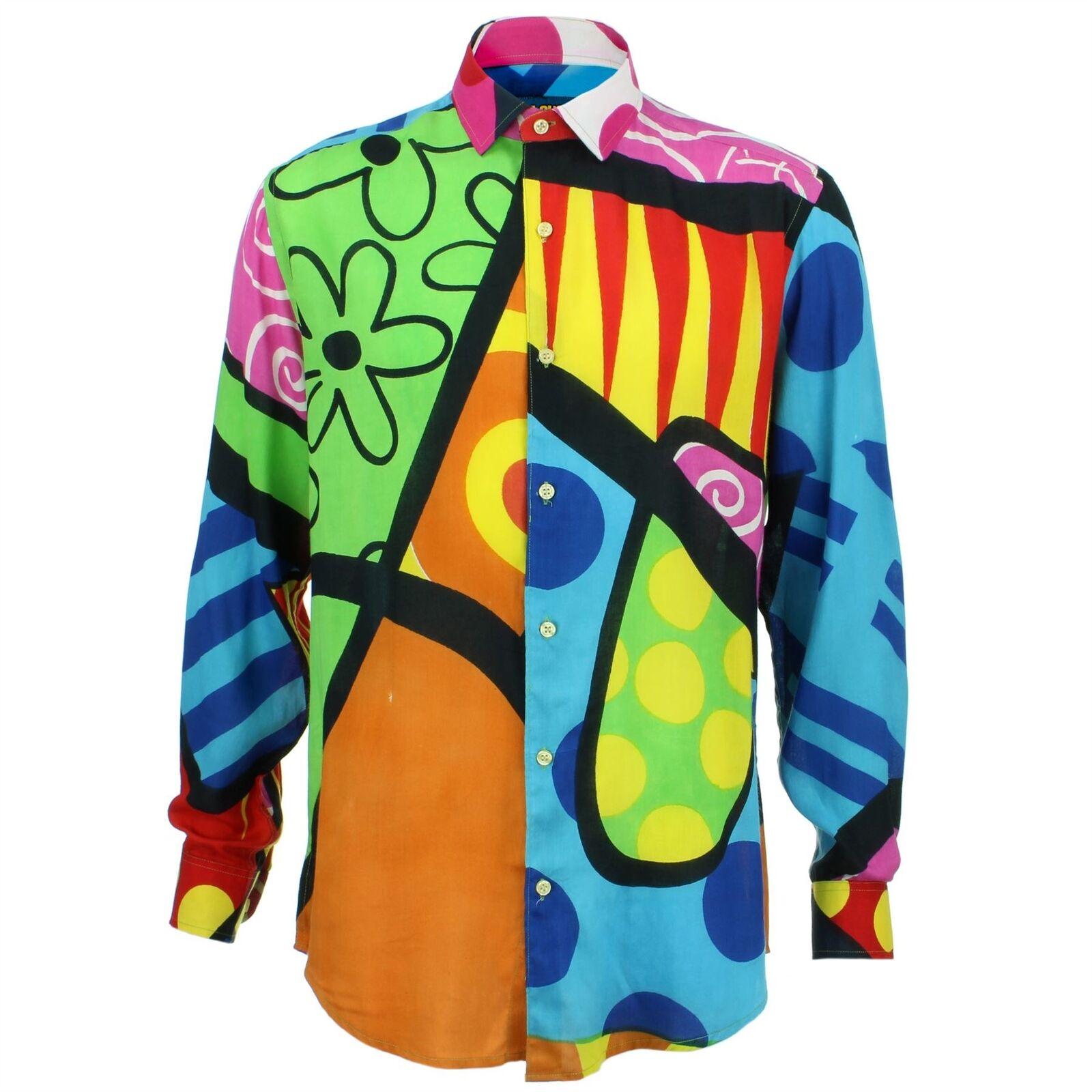 Camicia da uomo forte Originals Calzata Su Misura Blu Brillante Retro Psichedelico Costume