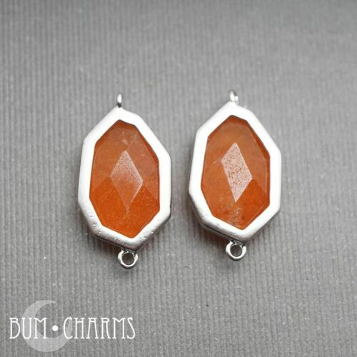 2 pcs Carnelian Orange Glass Crystal Framed Stone Pendant jewelry findings