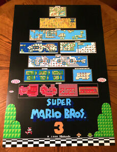 Super Mario Bros 3 Nes Worlds Map Huge Video Game 36 Poster Print