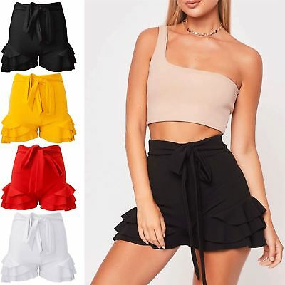 Realistisch Womens Ladies Casual Skorts Peplum Ruffled Belted High Waisted Mini Skirt Short Angenehme SüßE