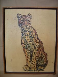 VINTAGE-1960-039-s-034-CHEETAH-034-SILKSCREEN-ON-CANVAS-WOOD-FRAME-UNSIGNED