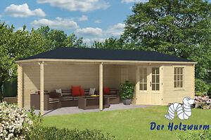 Gartenhaus Mit Unterstand gartenhaus bertil blockhaus 790x300cm holzhaus 45mm gerätehaus