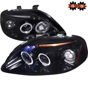 Image Is Loading Smoke Headlights Dual Halo Project LED Hatch Coupe