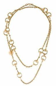 7fc1657f3 Image is loading 18K-Gold-Link-Gucci-Horsebit-Necklace-Yellow-Designer-