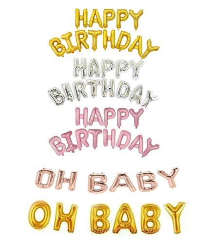 Letter Balloons Set Happy Birthday Banner Foil BALLON Kids Party Birthday Decor