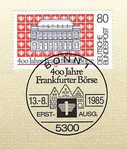 HonnêTe Rfa 1985: Bourse De Francfort 400 Ans! Nº 1257 Avec Bonner Cachet Spécial! 1a 156-afficher Le Titre D'origine Remise En Ligne
