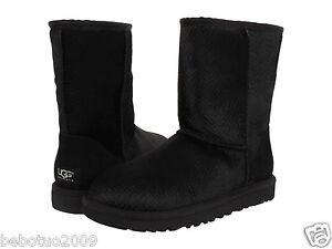 new women ugg australia boot classic short calf hair scales black rh ebay com