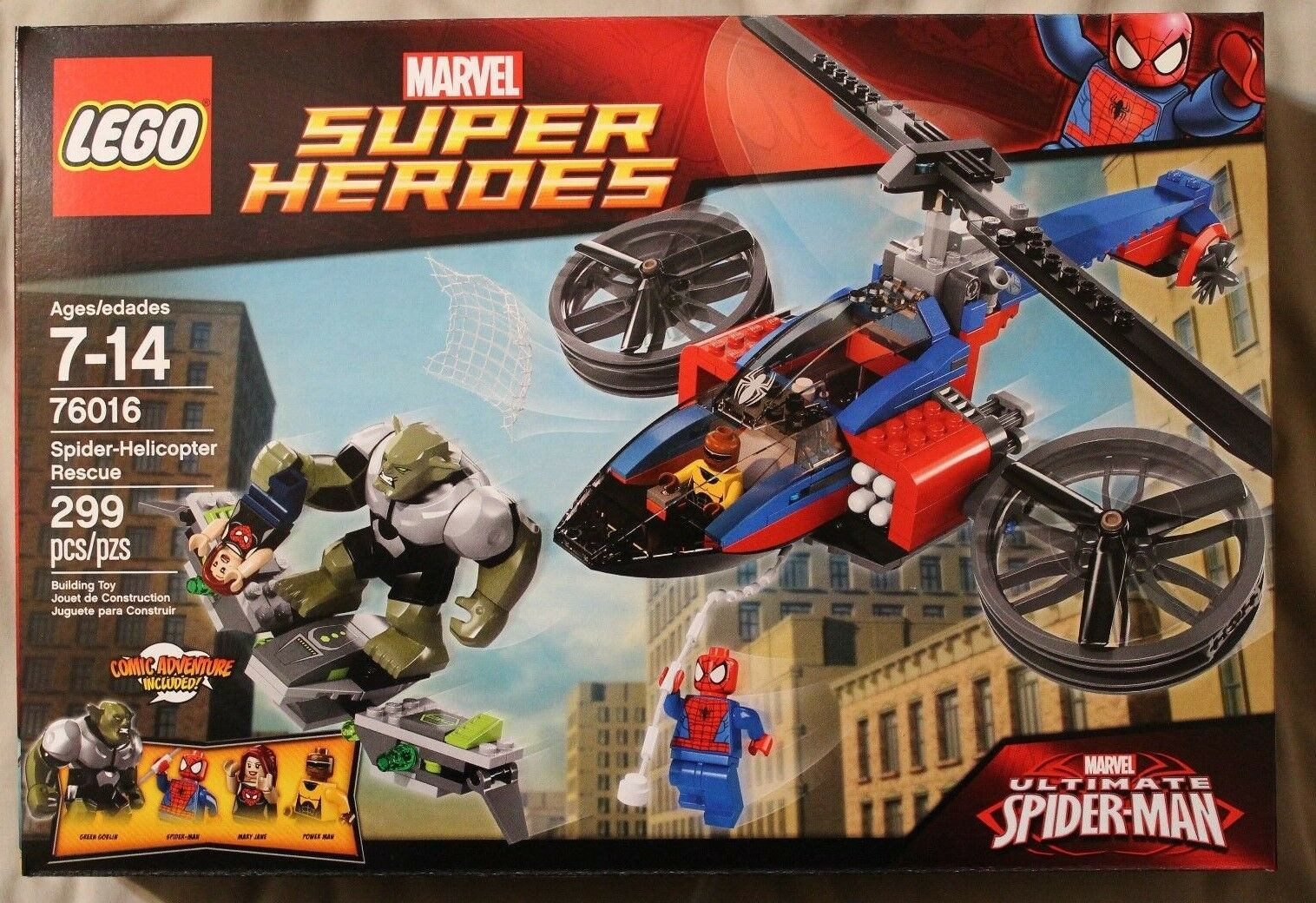 Lego 76016 SPIDER-HELICOPTER RESCUE  Marvel Super heroes  299 Pieces NIB
