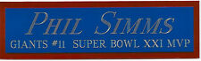 PHIL SIMMS NAMEPLATE FOR AUTOGRAPHED Signed Helmet Football JERSEY PHOTO CASE