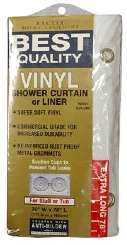 "Ex-Cell 70/"" x 78/"" White XL Vinyl Shower Curtain //Liner"