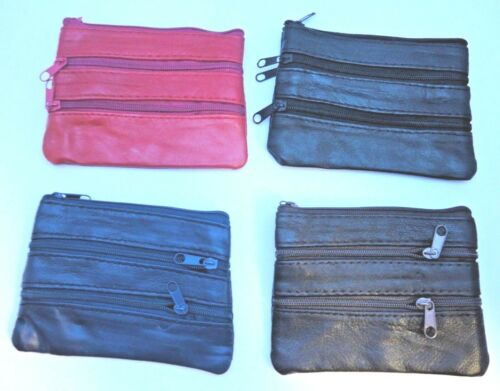 4 ZIPS SOFT LEATHER MEN//WOMEN COIN POUCH PURSE//WALLET IN 4 DIFFERENT COLOURS
