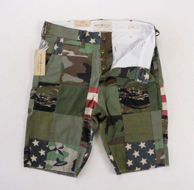 6f2e92489 Denim   Supply Ralph Lauren Patchwork Army Green Slim Fit Chino Shorts 28  NWT
