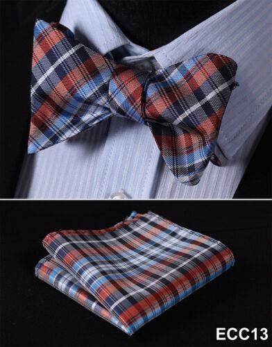 Checks Floral Mens Self Bow Ties Woven Silk Wedding Bowtie Handkerchief Set ECC