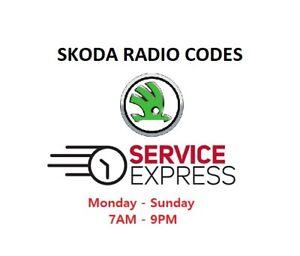 ** ** oficial Skoda Radio Código Decodificar Desbloqueo Pin-Todos Los Modelos-Servicio rápido