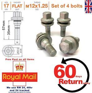 Citroen-alloy-wheel-bolts-nuts-lugs-35mm-M12-x-1-25-flat-seat-set-of-4