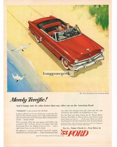 1953 Ford CRESTLINER Red Convertible on Beach art Vtg Print Ad