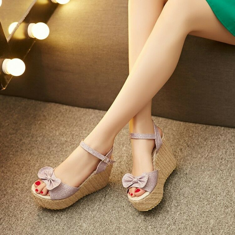 Women 's Wedge Heels Platform Open Toe Sweet Creeper Bowknot Ankle Strappy shoes