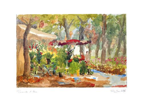Pierre Jean Llado Poster Kunstdruck Bild Blumenpromenade 50x70 cm