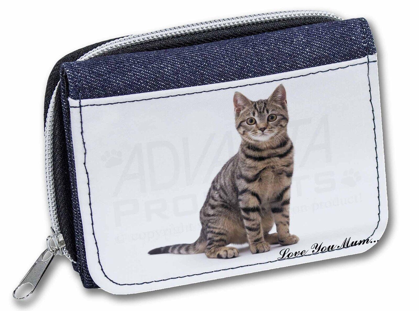 Brown Tabby Cat 'Love You Mum' Girls/Ladies Denim Purse Wallet Chri, AC-154lymJW