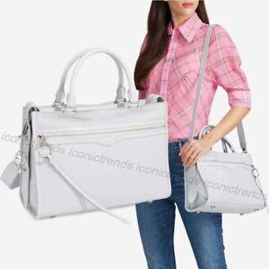 NWT-348-Rebecca-Minkoff-Bedford-Zip-Leather-Satchel-Silver-Hardware-Ice-Grey
