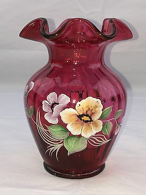 FENTON VASE Cranberry Glass PURE GOLD Hand Painted PANSIES 1557CW ~ MINT