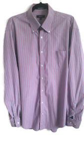 Mens-Gant-Size-XL-Purple-Pink-Stripe-Long-Sleeve-Button-Down-Shirt-Smart-42-034