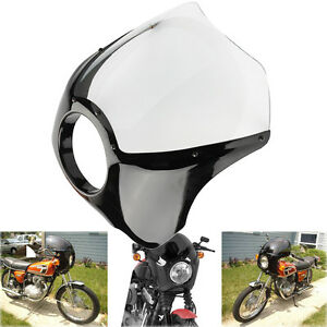 Moto-Fumee-Cafe-Racer-7-034-phare-Carenage-Pare-Brise-Pour-Harley-Sportster