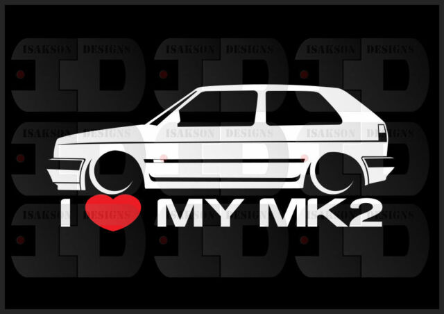 I heart my mk2 sticker love vw volkswagen slammed euro germany gti golf 2 door