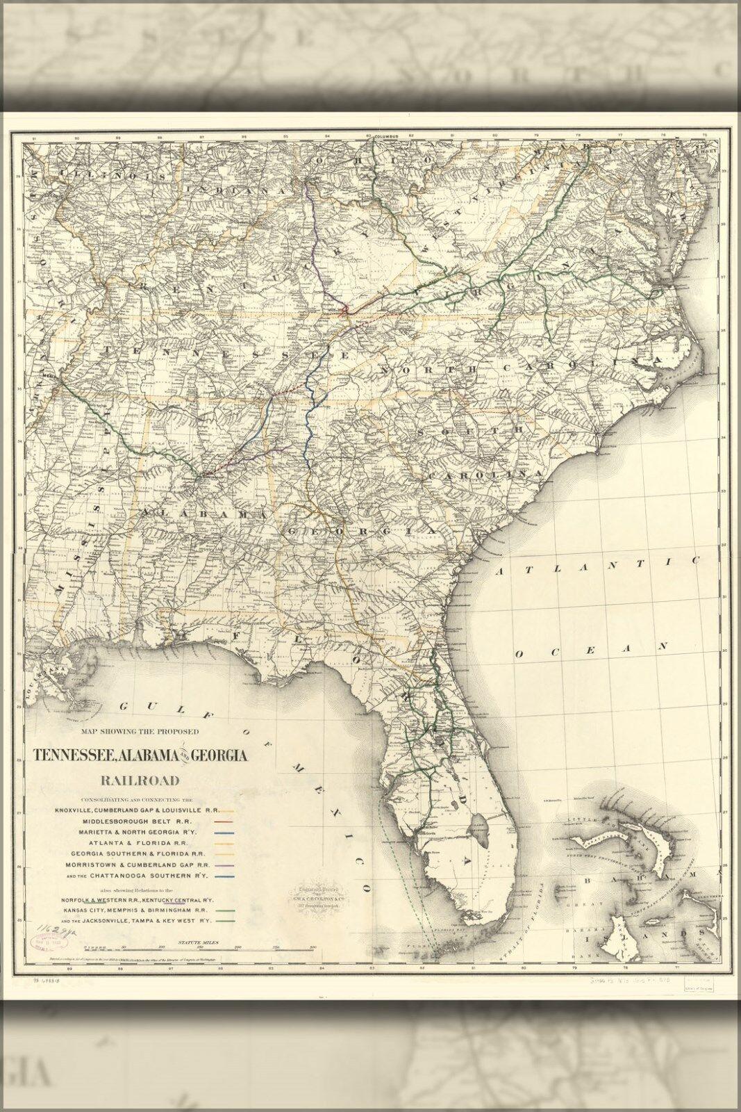 Poster, Many Größes; Map Tennessee Alabama Georgia Railroad 1893