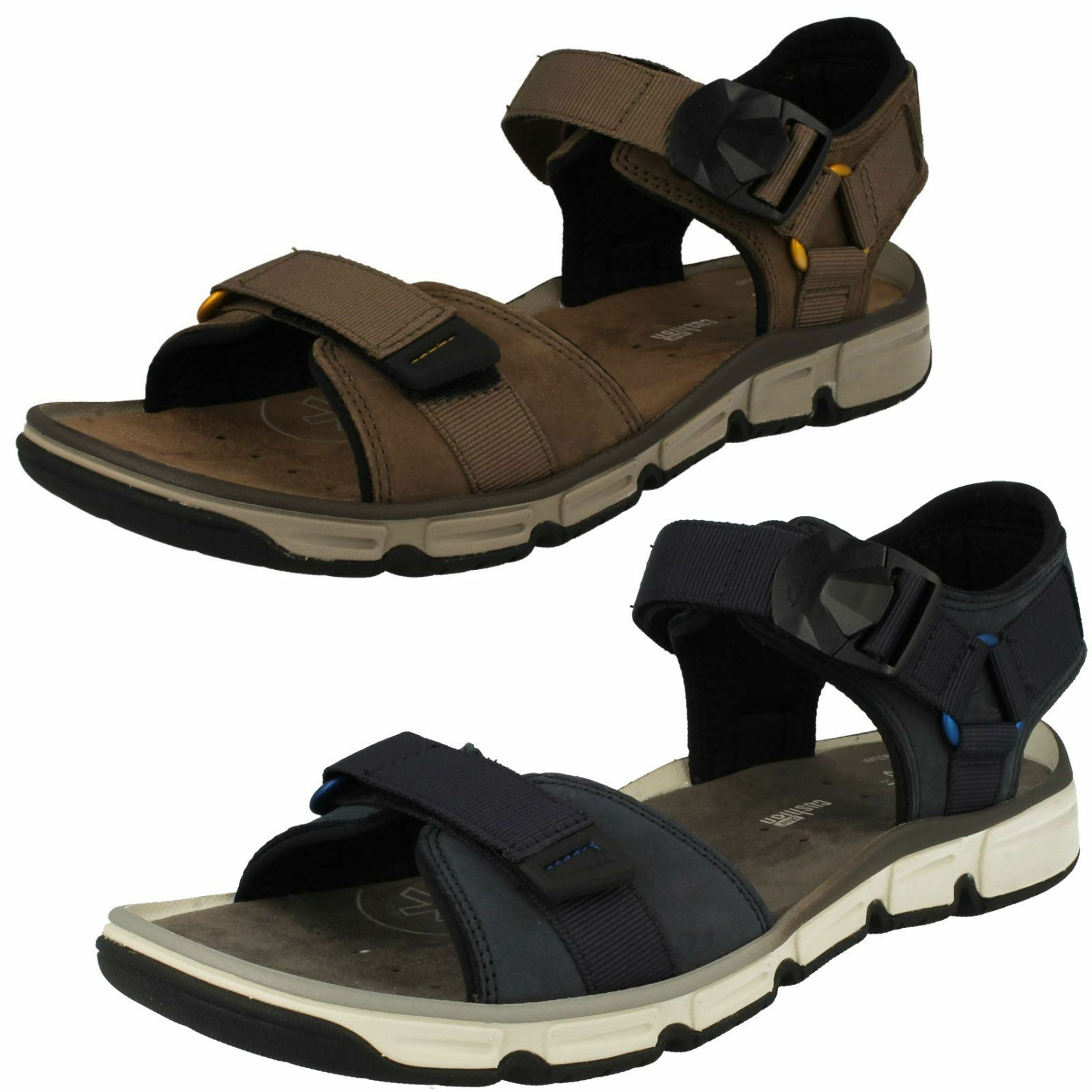 Gentleman/Lady Mens Clarks Open Toe Hook & Loop Leather Summer pattern Sandals Explore Part Fashion pattern Summer First batch of customers General product VB525 9fbcc0