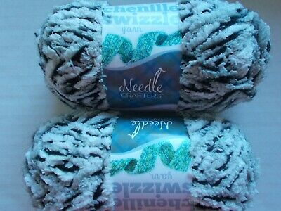 Needle Crafters Chenille Swizzle fashion yarn lot of 2 57 yds each Peony