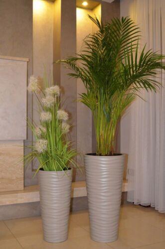 Blumenkübel Rund Welle Slim Einsatz Bis H:79cm Top SET 6 Größen Pflanzkübel Grau