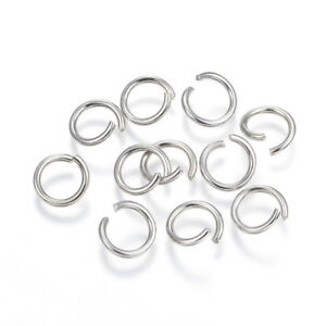 Silver 304 Stainless Steel Round Open Jump Rings 1.2 x 10mm Y01840 Packet 50